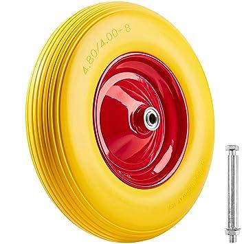 TecTake Rueda para carretilla goma maciza | incl. Llanta de aluminio e eje | Capacidad de carga: 150kg: Amazon.es: Jardín
