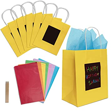 7 Yellow Gift Bags With Scratch Paper Panel For Customization Tissue Also Included These