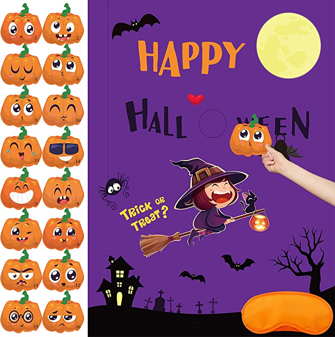 2Pcs Pin the Witches Hat on the Pumpkin Game for Halloween Party Games Birthday Party Favor Decoration Supplies