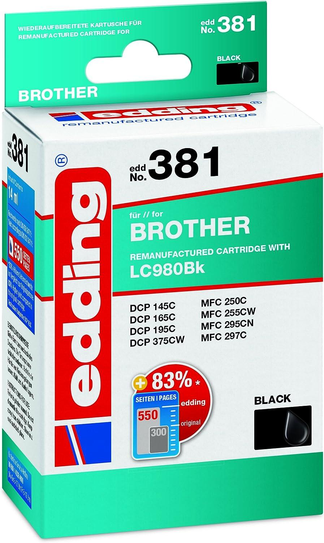 Edding Tintenpatrone Edd 381 Ersetzt Brother Lc980bk Schwarz 14ml Bürobedarf Schreibwaren