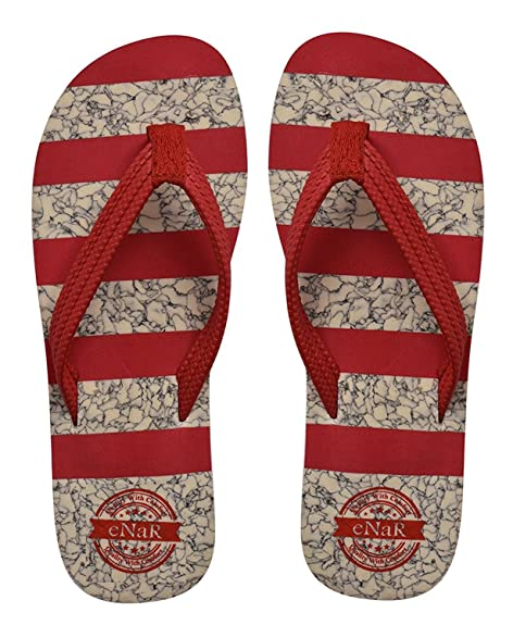 345097bfe5d7 eNaR Women s Red Color Thong-Style Slippers Flip Flops  Buy Online ...