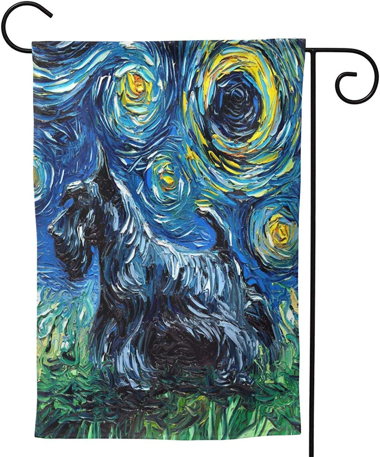 Energmix Spring Summer Scotty Dog Garden Flags Welcome The Holiday with Polyester Garden Flag Double-Sided Seasonal Yard Flag Gift Banner for Patio Lawn Outdoor Home Decor