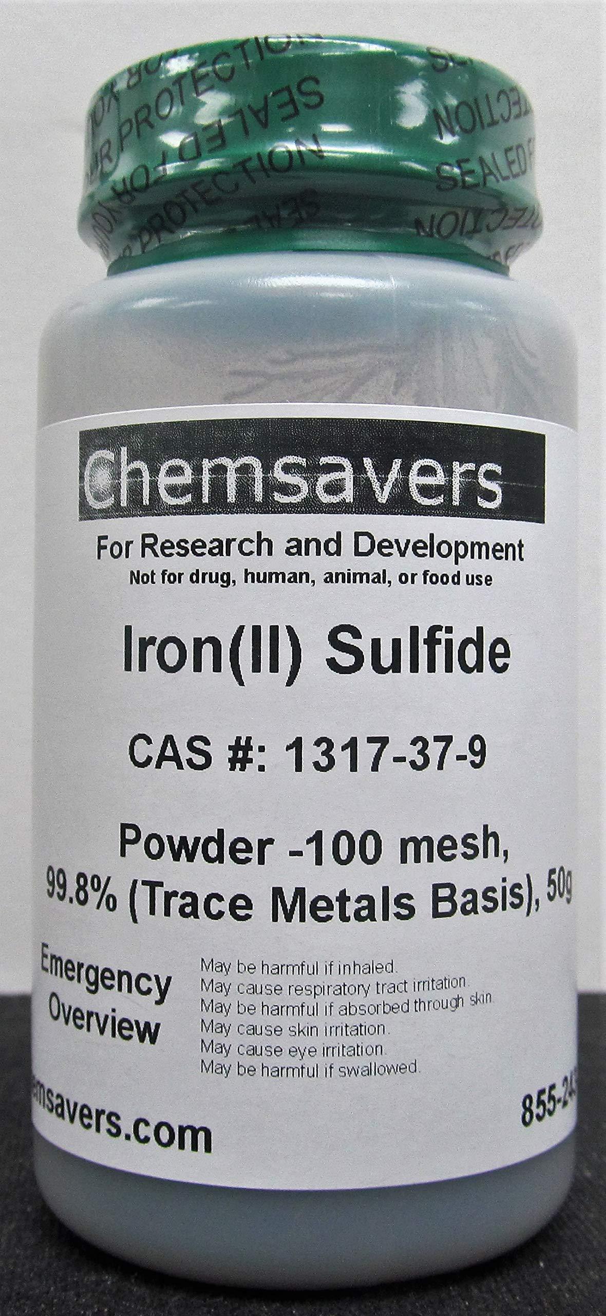 Iron(II) Sulfide, Powder -100 mesh, 99.8% (Trace Metals Basis), 50g by Chemsavers (Image #1)