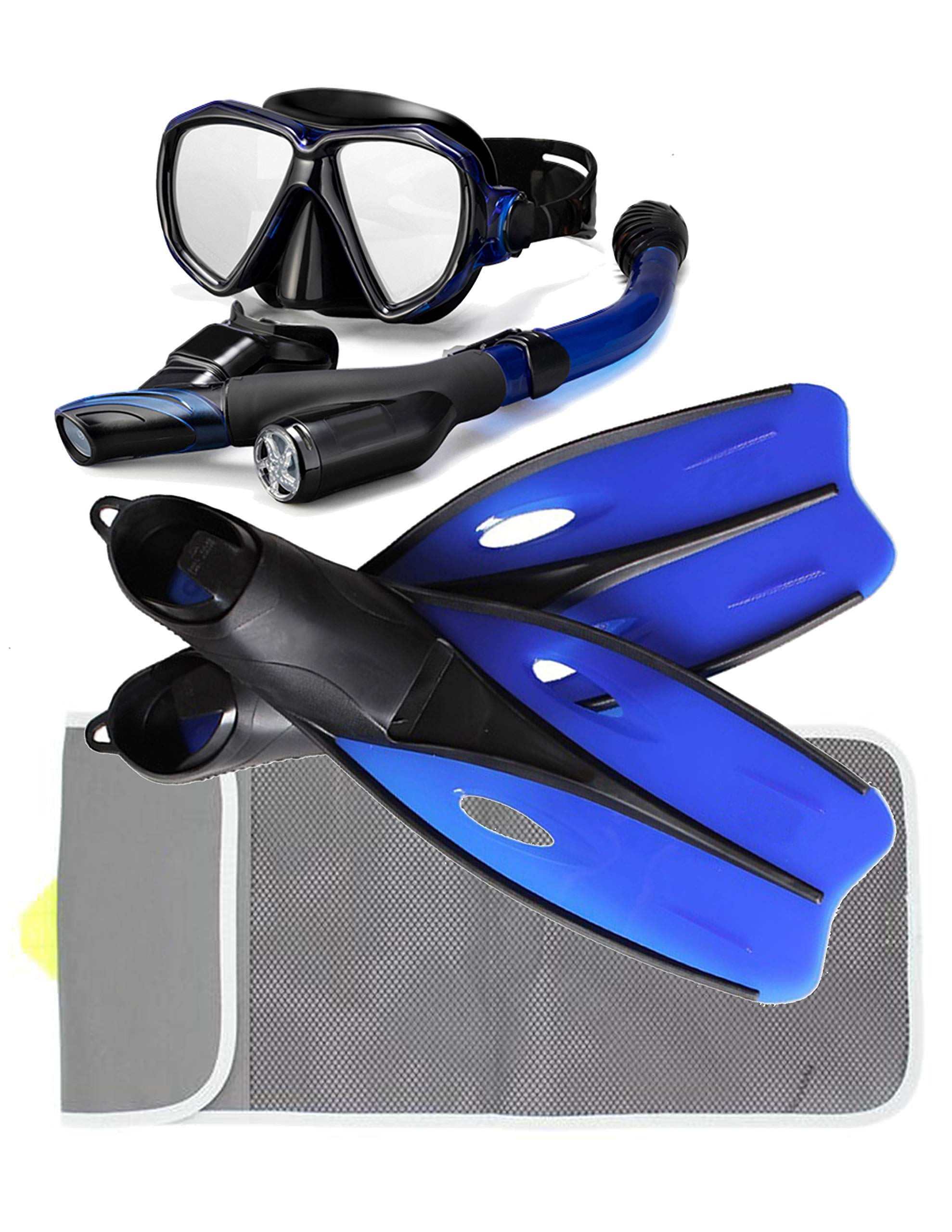 P+Co Snorkel/Scuba Diving Mask & Long Fin Set in Mesh Bag Gear Set- Adult Snokel, Mask, Fins and Travel Bag (Blue, L) by P+Co