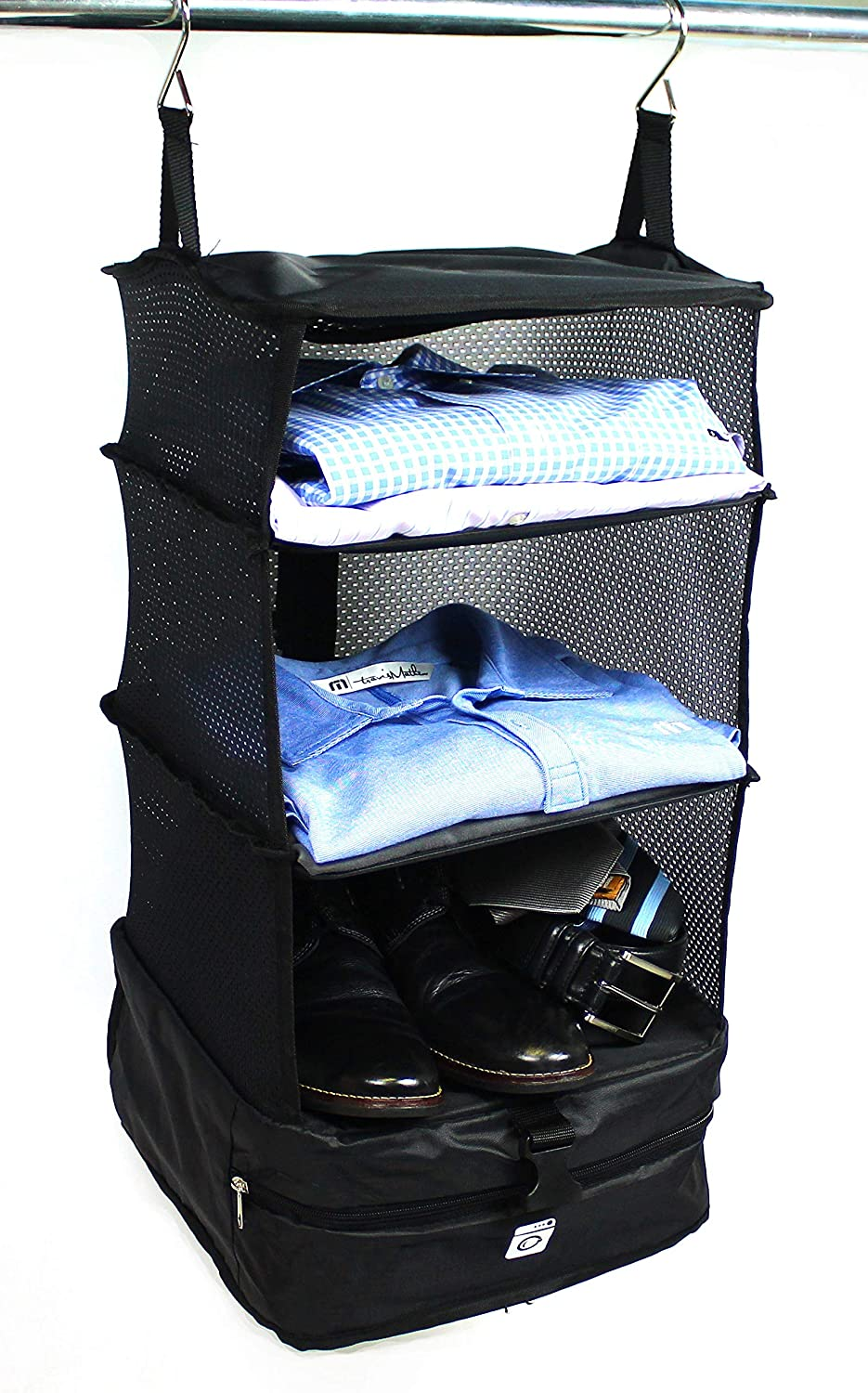 Stow-N-Go Portable Luggage System - Small - Black, Packable Hanging Shelves and Travel Organizer Grand Fusion Housewares 647166278258