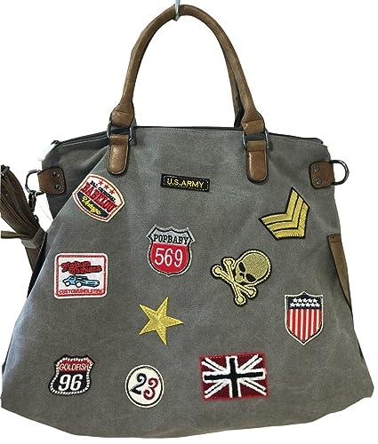 9f3ce46ca62e7 fashion DU PATCHES STERN Handtasche Schultertasche bag Umhängetasche  Tragetasche US star groß (Grau)