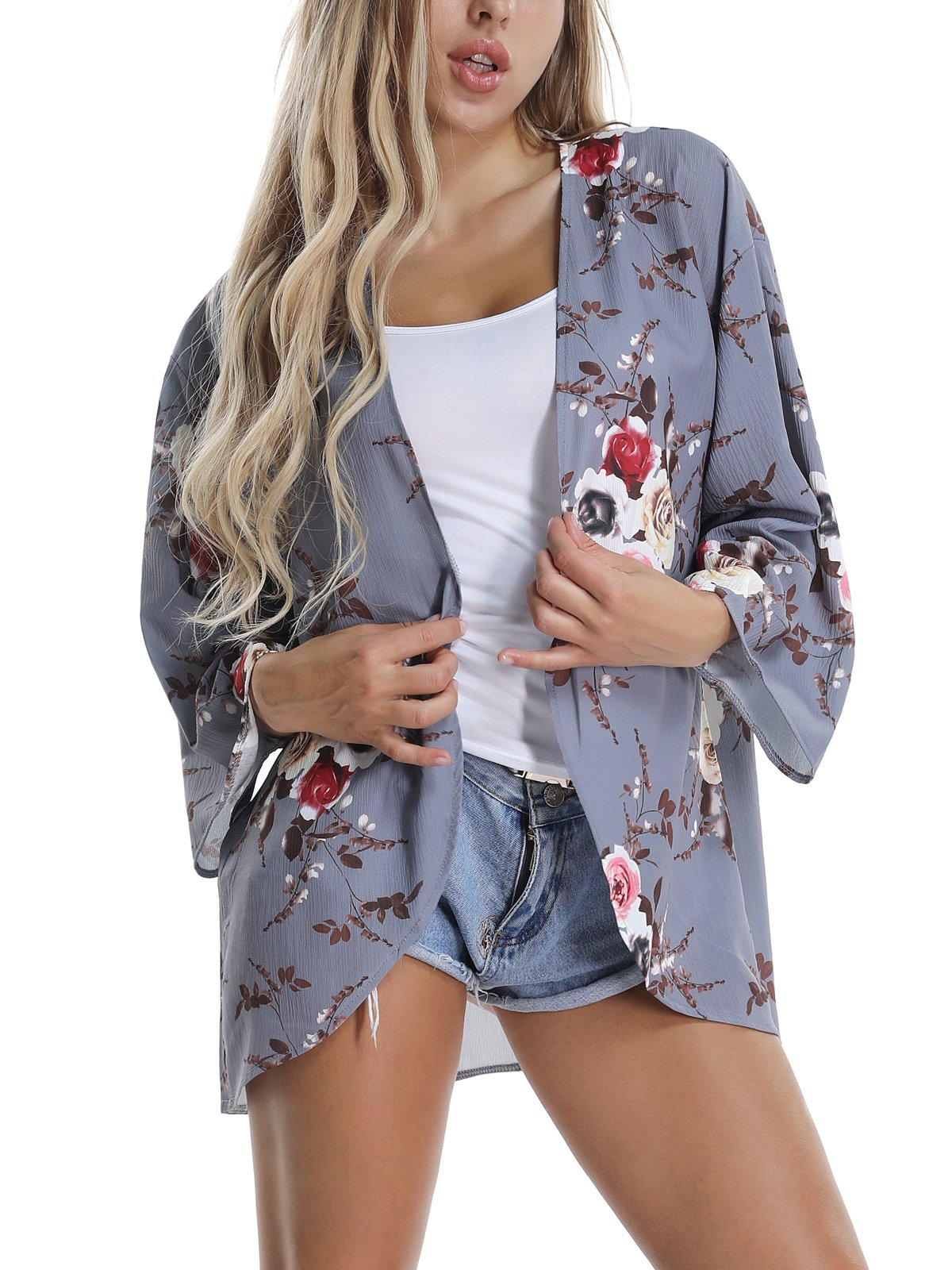 VYNCS Women's Grey Casual Floral Chiffon Cardigan Kimono 3/4 Sleeve Loose Sheer Beach Wear Cover up Summer (Grey, XX-Large)