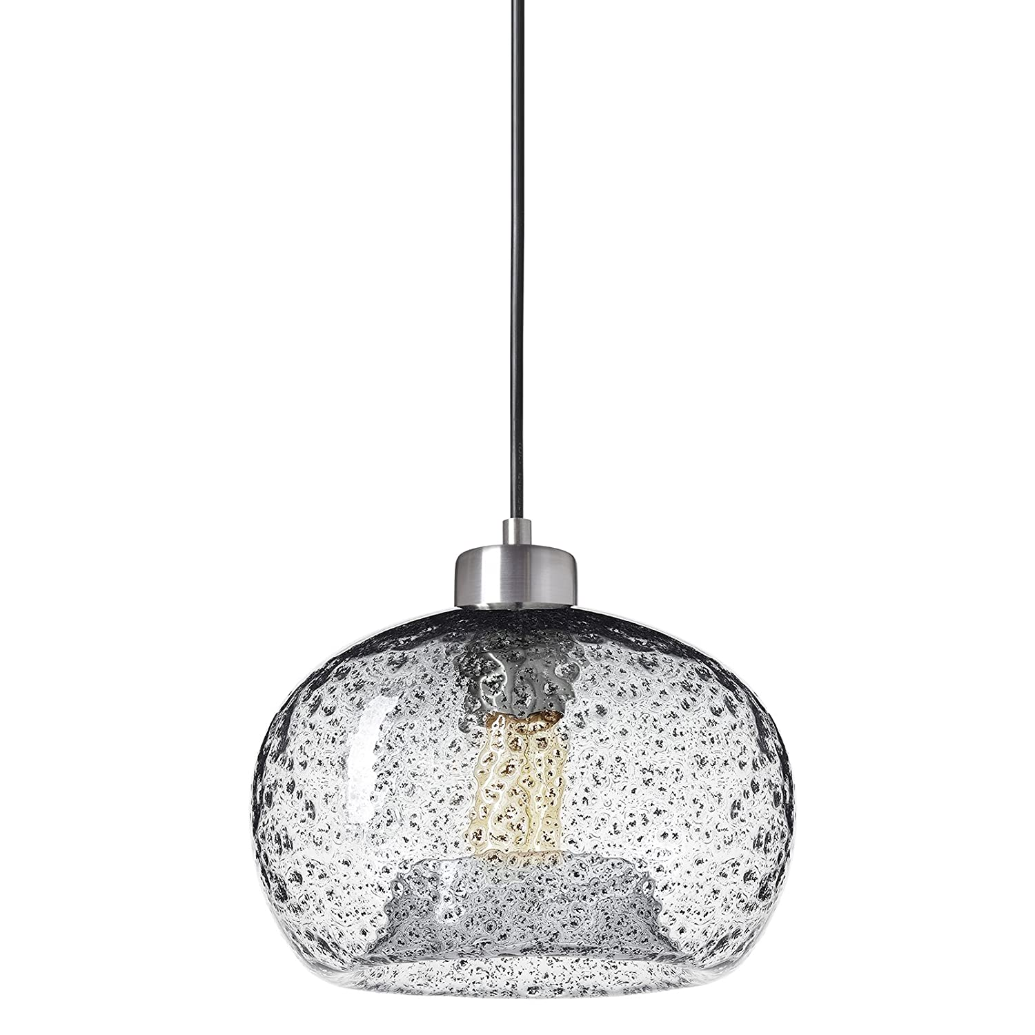 Casamotion Pendant Light Handblown Glass Drop Ceiling Lights, Rustic Hanging Light Seeded Glass with Black Sand Powder (Brushed Nickel, Clear)