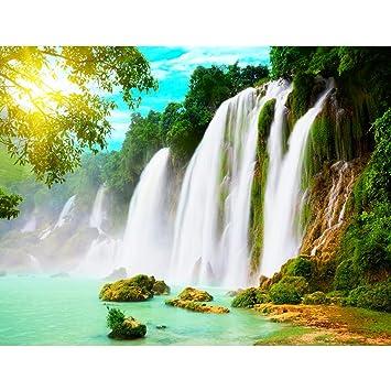 Fototapete Wasserfall Natur Vlies Wand Tapete Wohnzimmer Schlafzimmer Büro  Flur Dekoration Wandbilder XXL Moderne Wanddeko