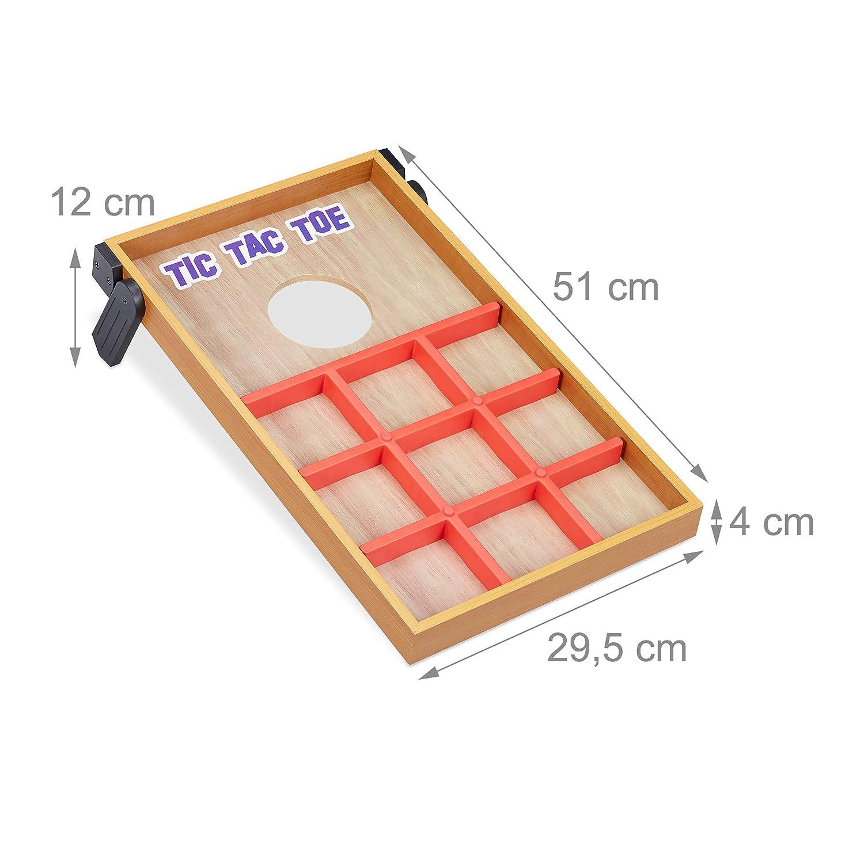 Cornhole /& Tic Tac Toe in-/& Outdoor Fun Multicoloured Multi 10 Bean Bags Relaxdays 10022795 2 in 1 Throwing Dexterity Game