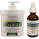 Advanced Clinicals 2 Piece Anti-aging Skin Care set with collagen. 16oz Spa Size Collagen Lotion And 1.75oz Collagen…