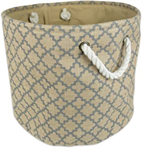 "DII Collapsible Burlap Storage Basket or Bin with Durable Cotton Handles, Home Organizational Solution for Office, Bedroom, Closet, Toys, & Laundry (Small Round - 12x9""), Lattice Gray Outline"