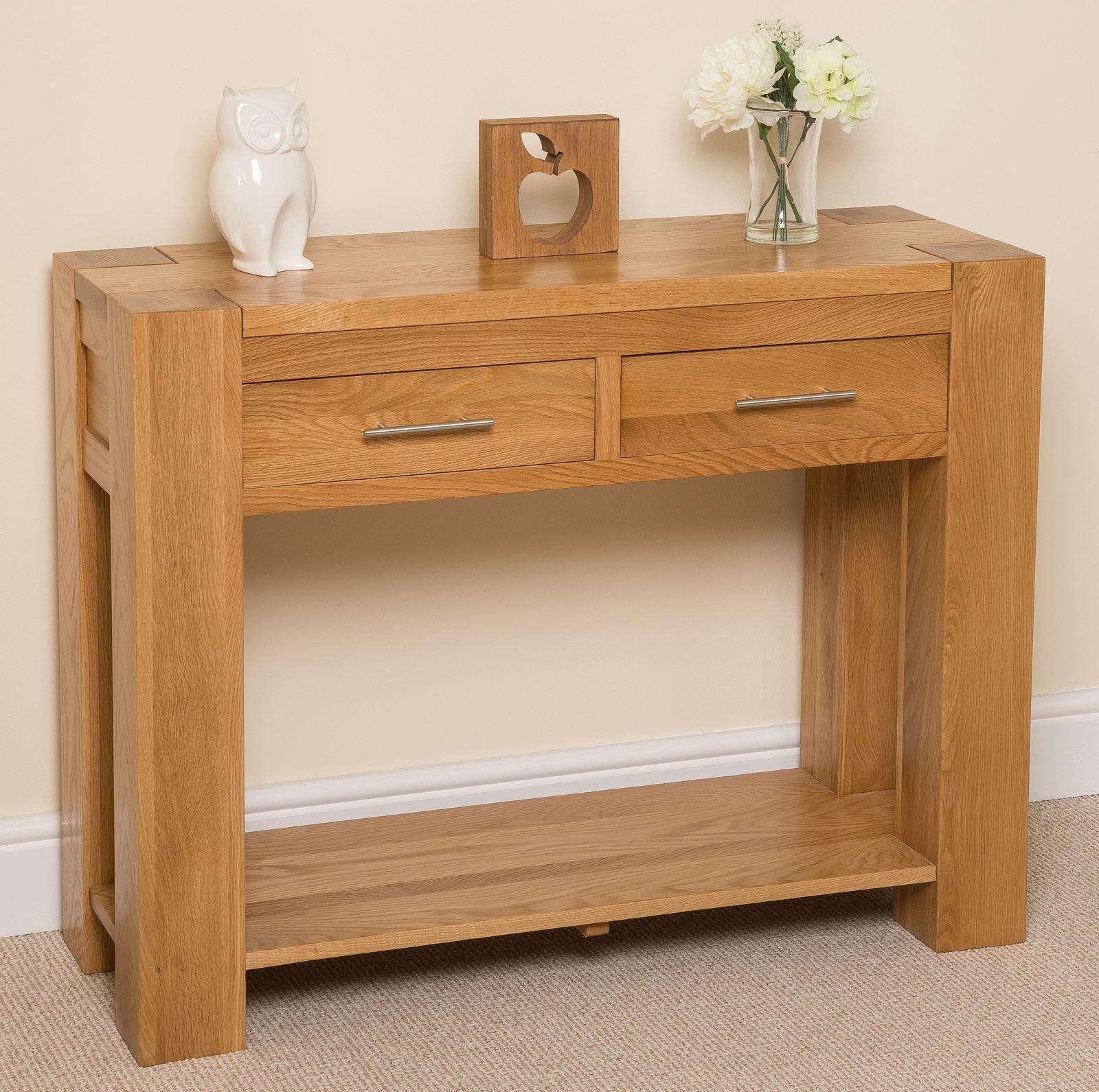 Kuba Chunky Solid Oak Wood 11 Drawer Console Table Unit Hallway Living Room,  11 x 11 x 11 cm