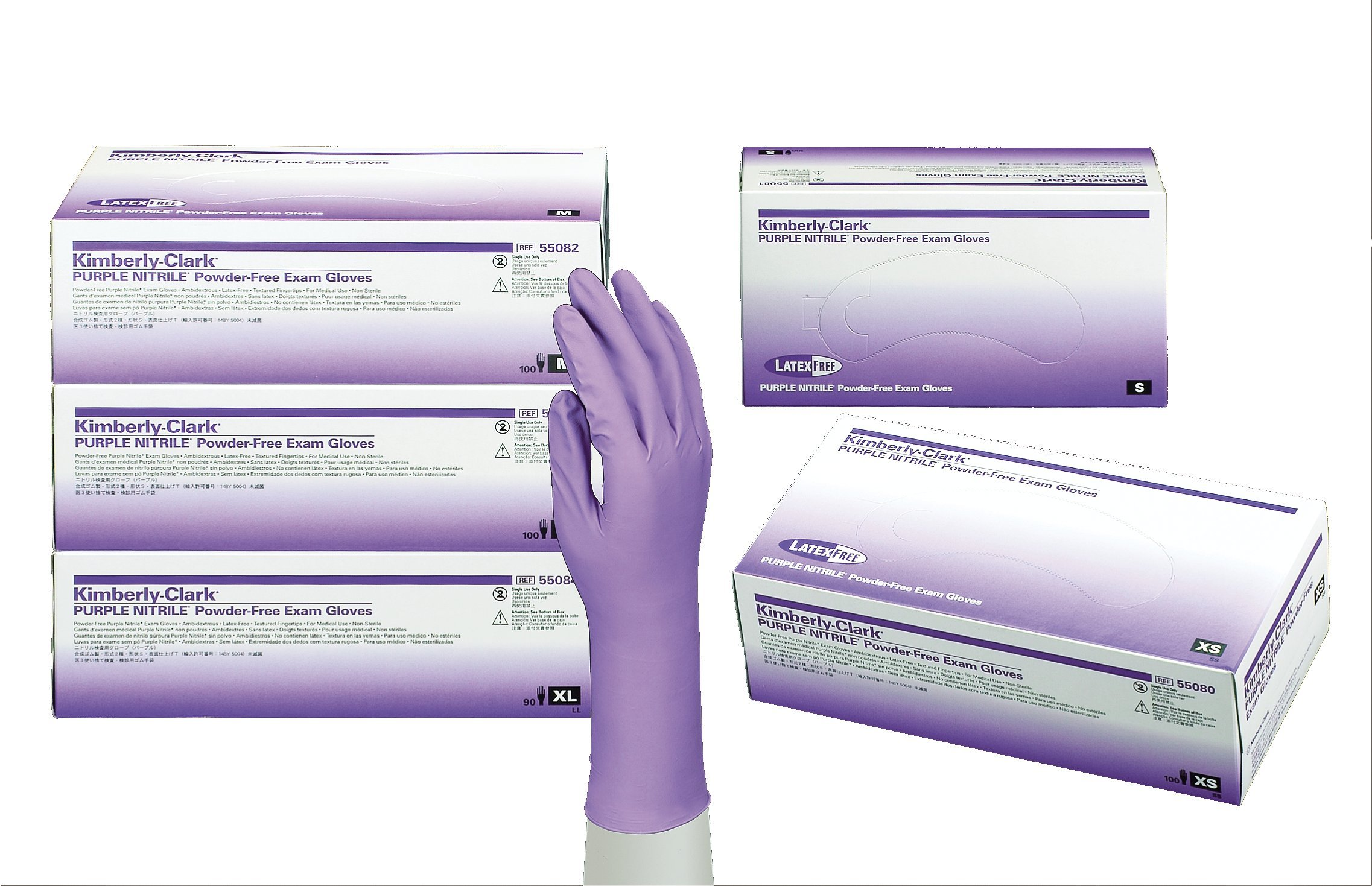 Kimberly-Clark 55080 Model KC500 Nitrile Powder Free Exam Gloves, Disposable, Extra Small, Purple (Pack of 100)
