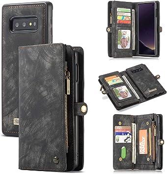 CaseMe pour Samsung Galaxy S10e en Cuir Coque, Multifonction Étui Portefeuille Folio Zipper avec Fentes pour Cartes et arrière magnétique Housse en ...