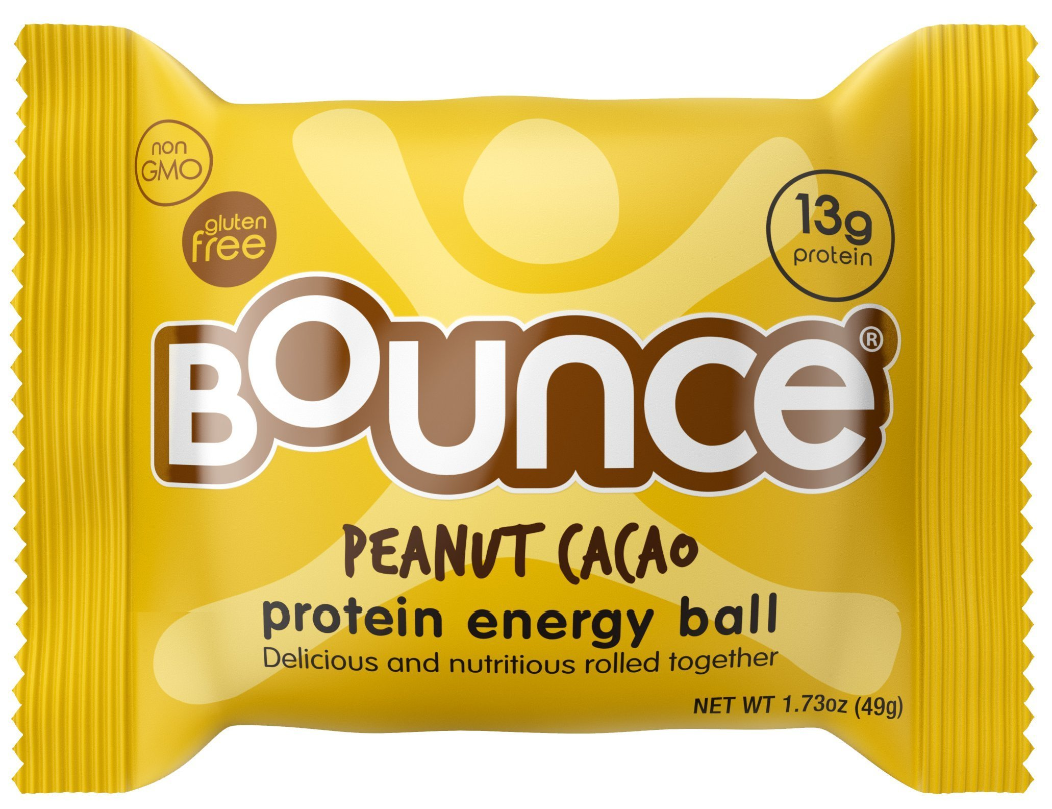 Bounce Peanut Cacao Protein Energy Ball - Whey Protein, Gluten Free, Non-GMO, Vegetarian, On The Go Snack - 1.73 Ounce, 12 count