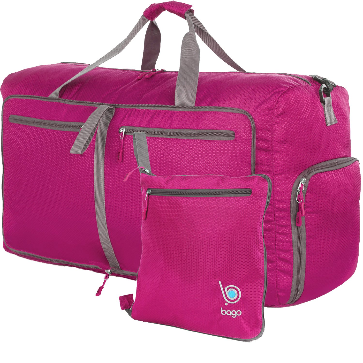 Bago Travel Duffle Bag For Women & Men - Foldable Duffel Bags For Luggage Gym Sports (Large 27'',Pink)