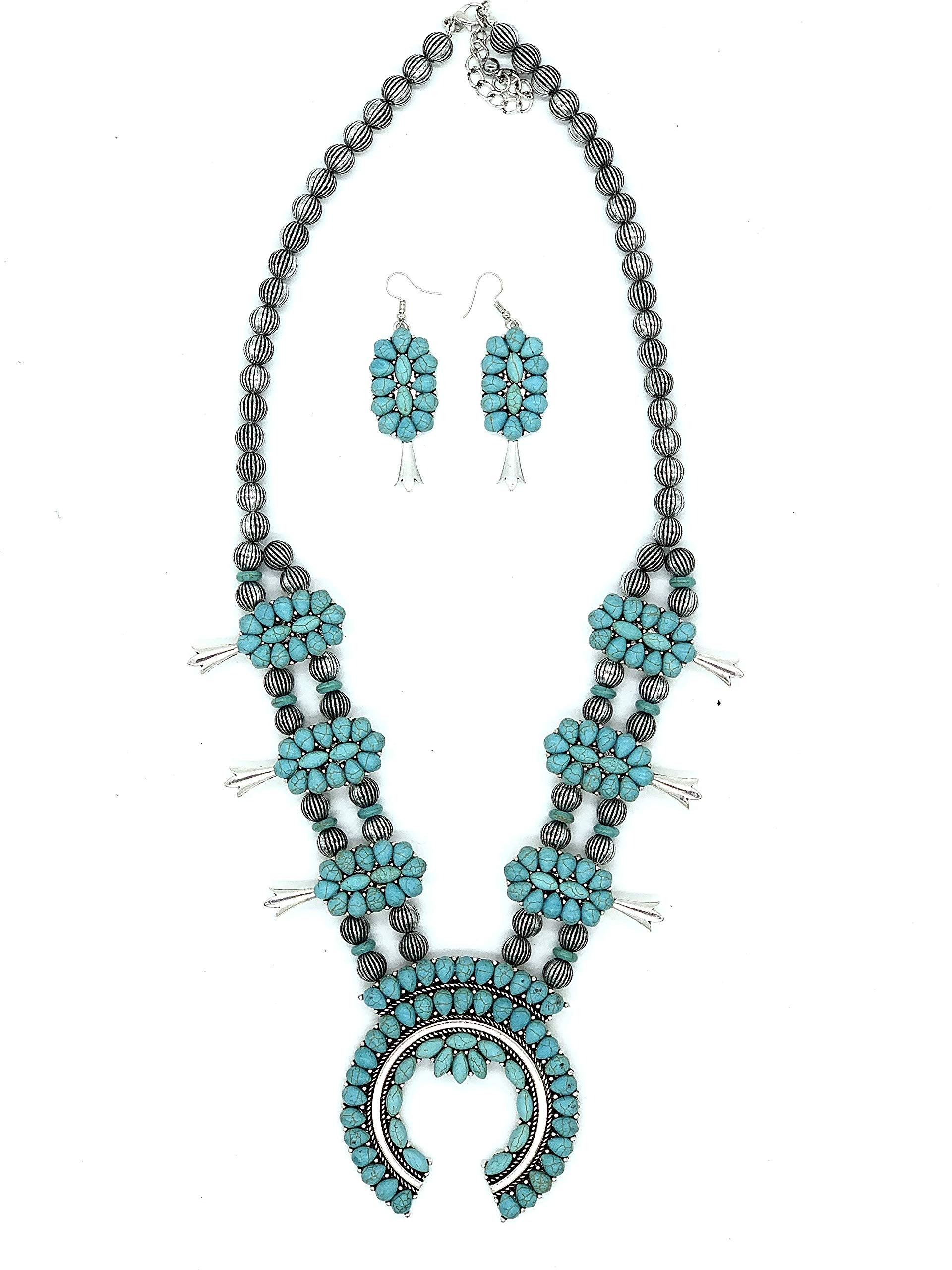 Jayde N' Grey Navajo Turquoise Southwestern Squash Blossom Necklace & Lace Jewelry Bag (Turquoise Long Native) by Jayde N' Grey