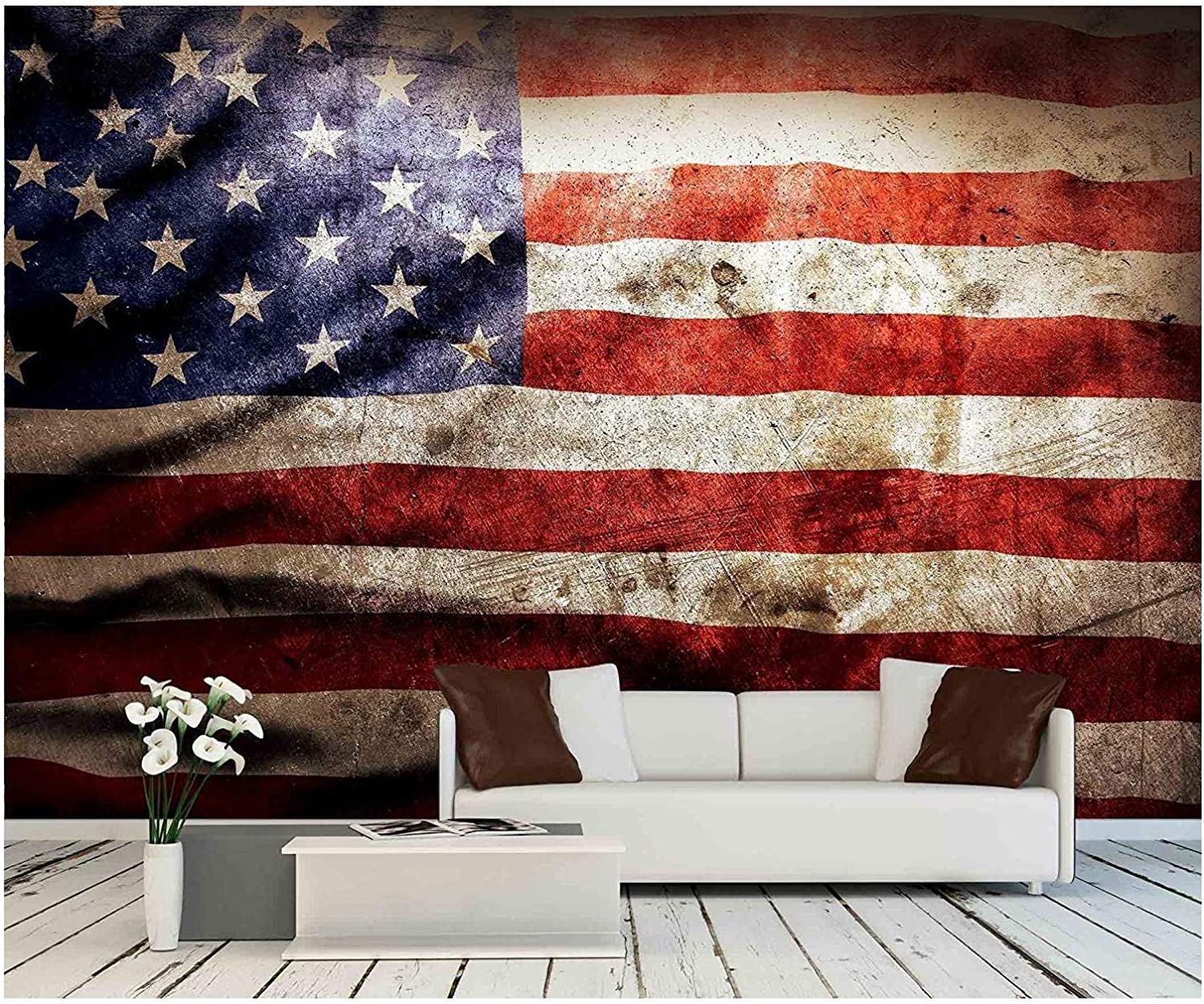 Wall26 Closeup Of Grunge American Flag Removable Wall Mural