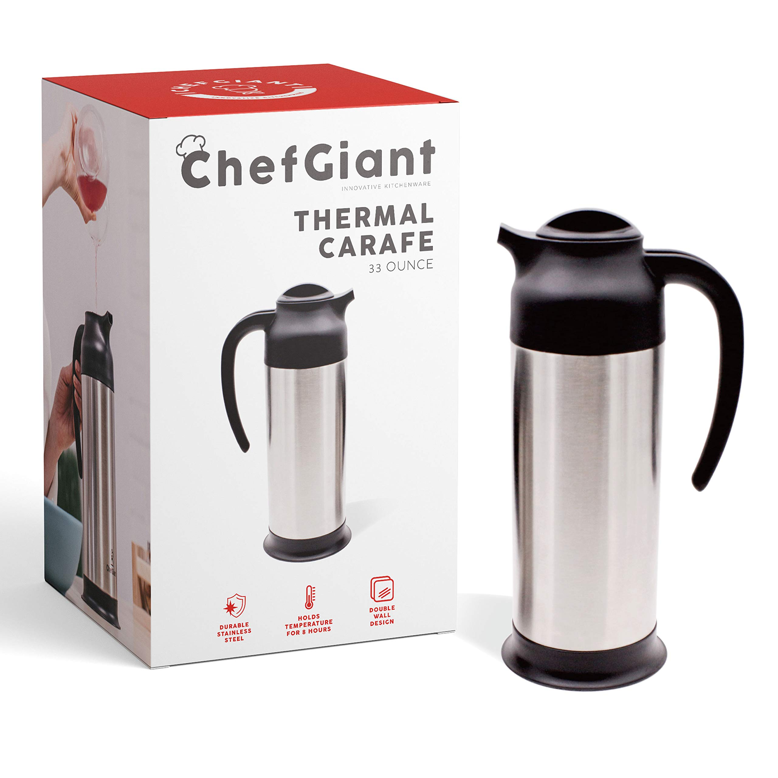 Thermal Coffee Carafe 33 OZ. 1 Liter 4 CUP Premium Small Design for Easy Handle & Travel Milk Server Stainless Steel Insulated Hot & Cold Beverage Pitcher Dispenser by ChefGiant