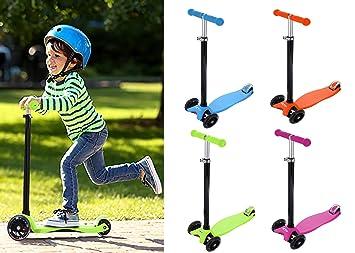 Patinete Scooter 3 Ruedas con Luces LEDs para Niños de 3 a 13 Años de Edad, Patinete Plegado Rápido Inclinación a Girar, Patinete Infantil con ...