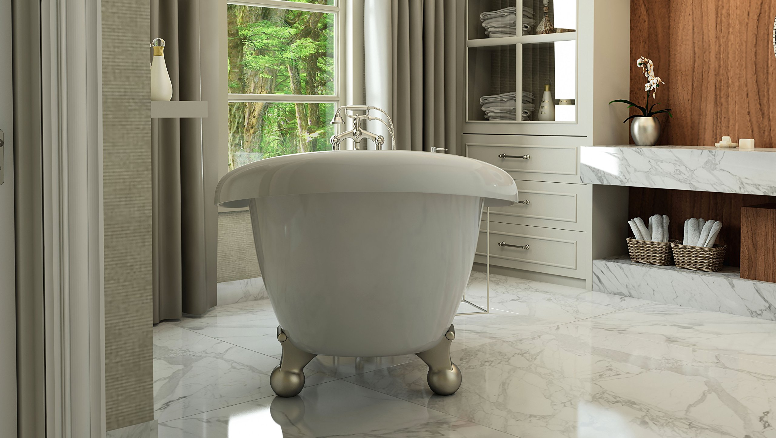 Luxury 60 inch Modern Clawfoot Tub in White with Stand-Alone Freestanding Tub Design, Includes Modern Brushed Nickel Cannonball Feet and Drain, From The Brookdale Collection by Pelham & White (Image #5)