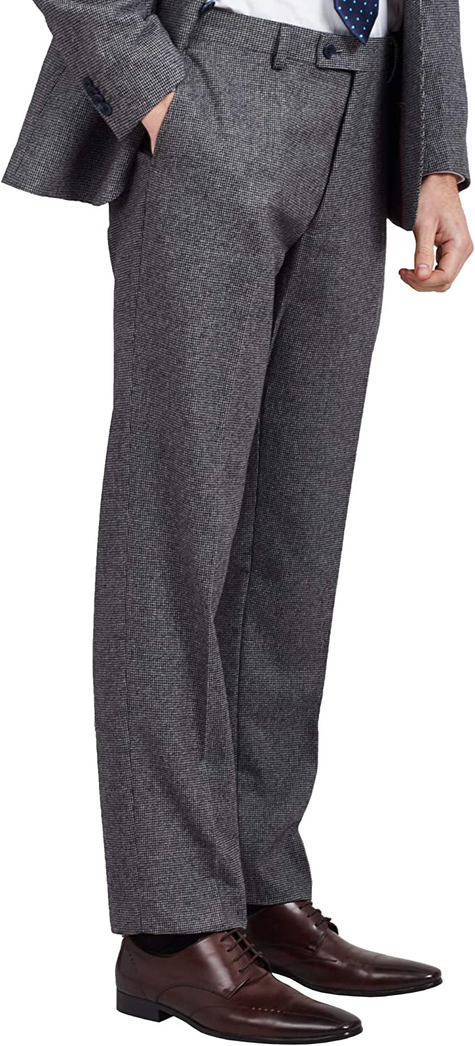 Dobell Mens Grey Suit Pants Regular Fit Puppytooth Check