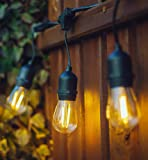 Hyperikon LED Outdoor Commercial String Lights, 48ft with 15 Hanging Sockets, 2W LED S14 LED Bulbs included - Weatherproof Vintage Edison String Lights for Patio, Backyard, Party, Wedding.