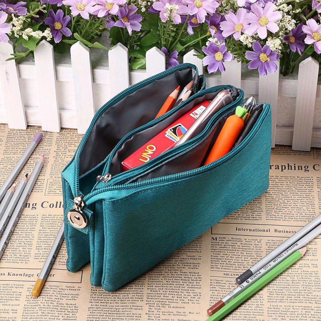 BTSKY - Estuche organizador multifunción para lápices y bolígrafos, triple bolsillo, estuche para lápices escolares, estuche de almacenamiento de maquillaje para niños y niñas (verde): Amazon.es: Oficina y papelería