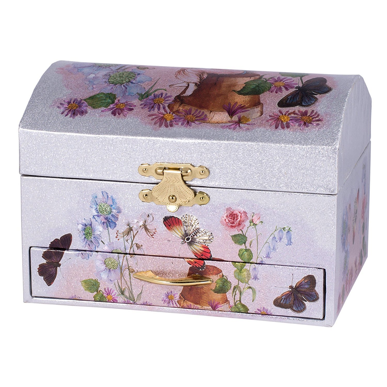 Silver and Pink Fairy Ballerina Swan Lake Music Jewelry Box Broadway Gift Co. JB008