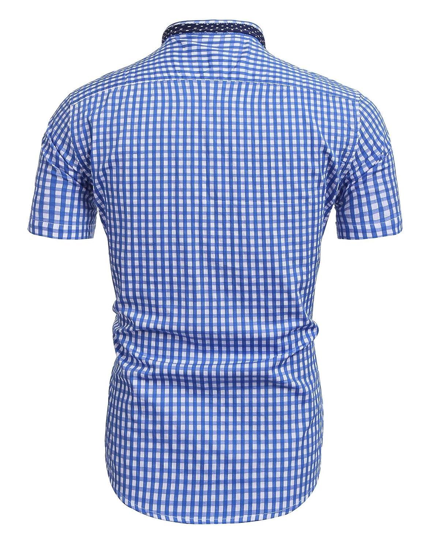 HOTOUCH Herren Kurzarm Karohemd Casual Loose Oberhemd mit Patchwork