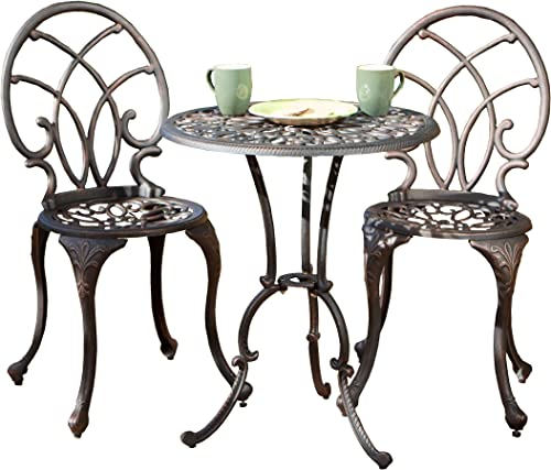 Great Deal Furniture Andover Outdoor 3pc Copper Cast Aluminum Bistro Set