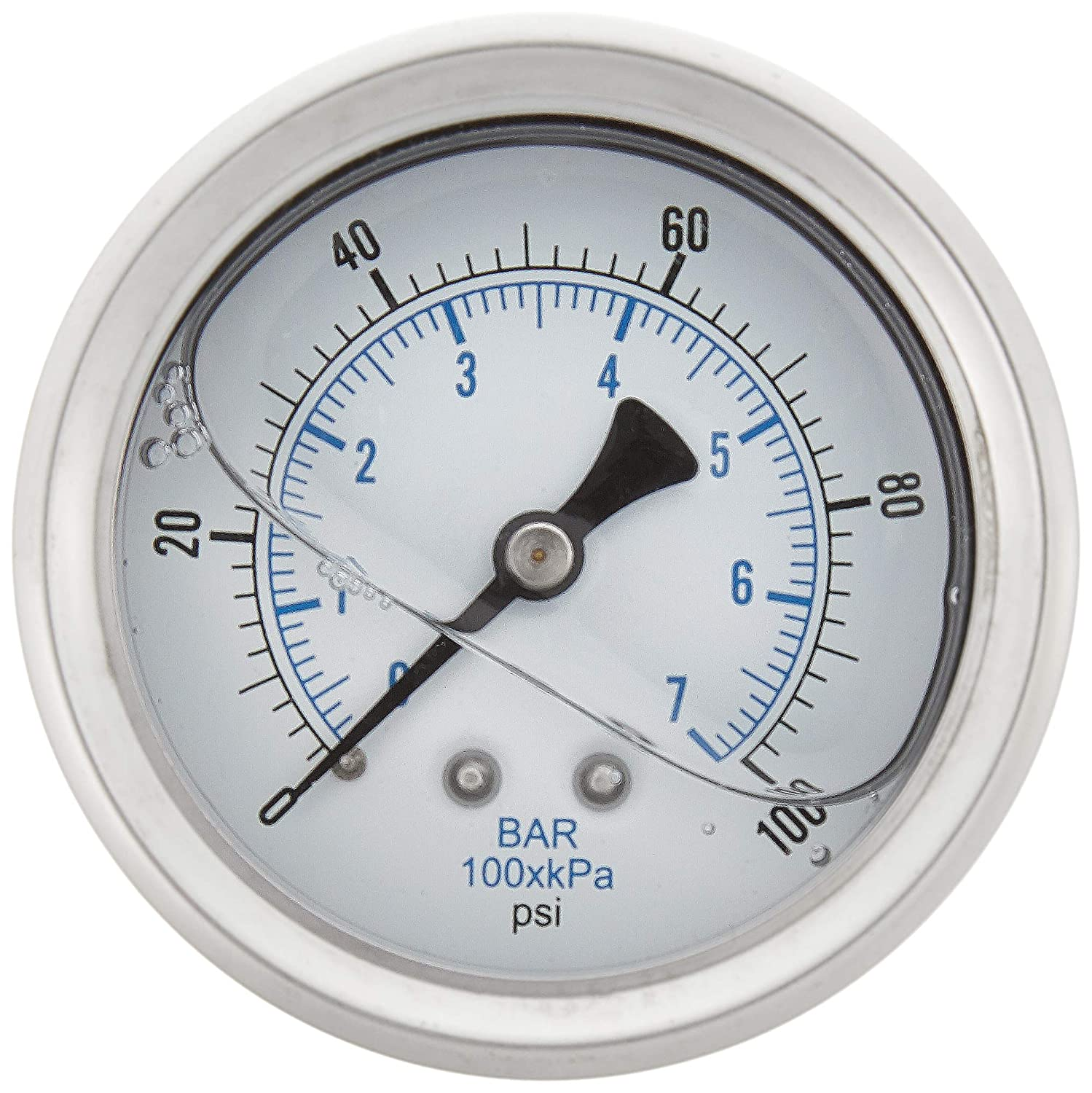 """New Stainless Steel Liquid Filled Pressure GAUGE WOG Water Oil Gas 0 to 100 PSI Center Back Mount 0-100 1/4"""" NPT Male 2.5"""" FACE DIAL for Compressor Hydraulic AIR Tank"""