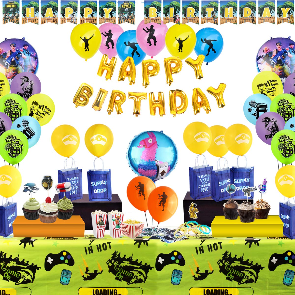 include Balloons 142 pcs Gaming Theme Party Decorations Table Cover Bracelets Banner Stickers Cake Toppers Party Favors Bags Birthday Party Supplies for Game Lovers