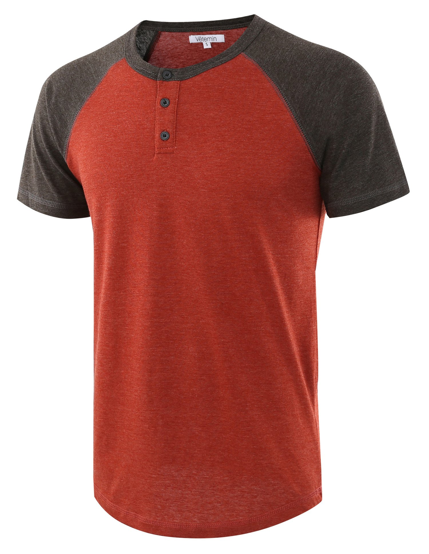 Vetemin Men's Casual Short Sleeve Raglan Henley T-Shirts Baseball Shirts Tee H.Rusty/H.Charcoal L