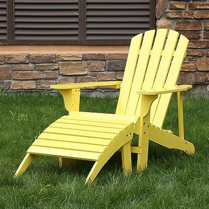 Songsen Outdoor Log Wood Adirondack Chair U0026 Ottoman Patio Deck Garden  Furniture   Yellow