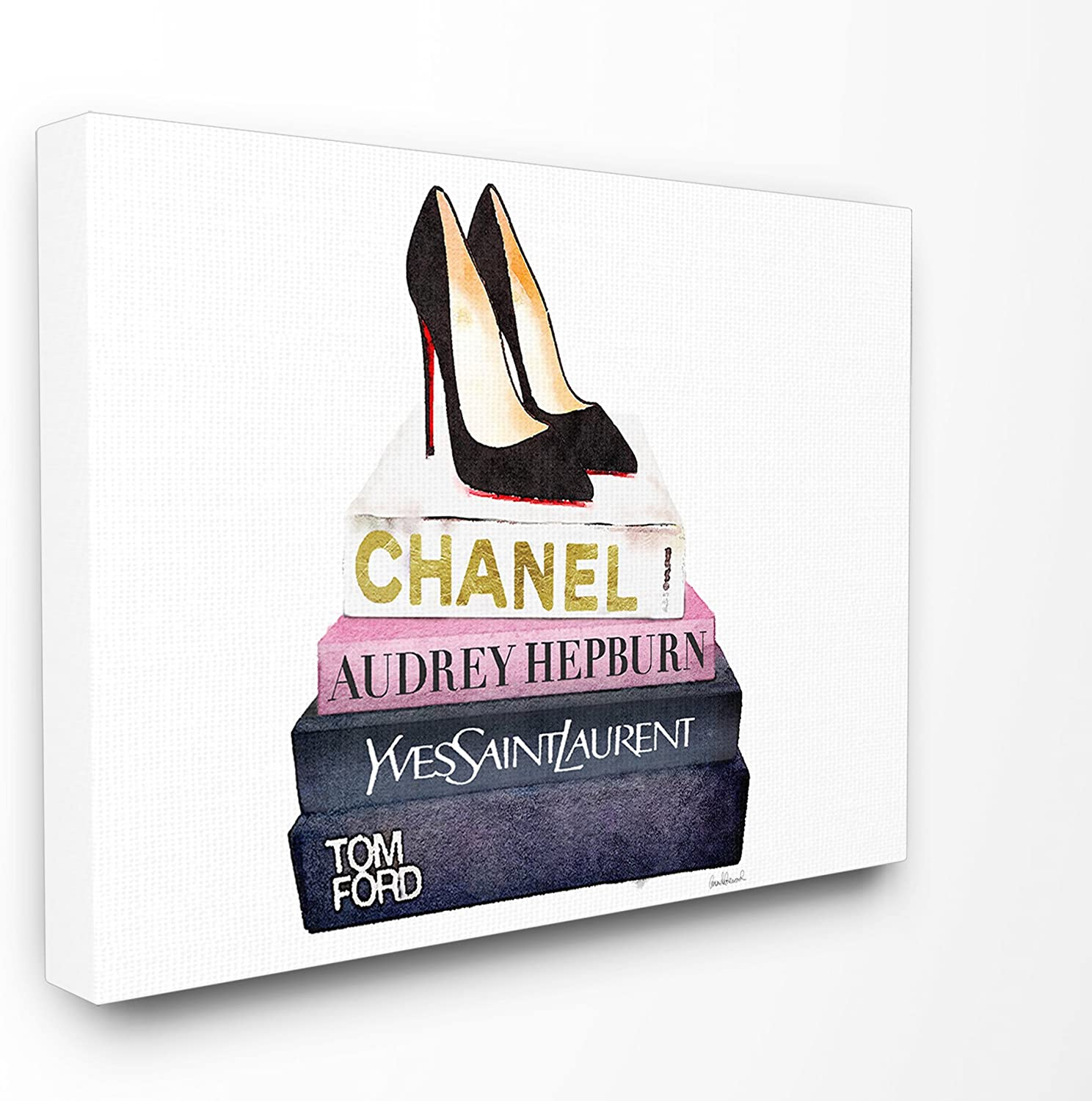 Stupell Industries Glam Fashion Book Set Black Pump Heels Stretched Canvas Wall Art, Proudly Made in USA