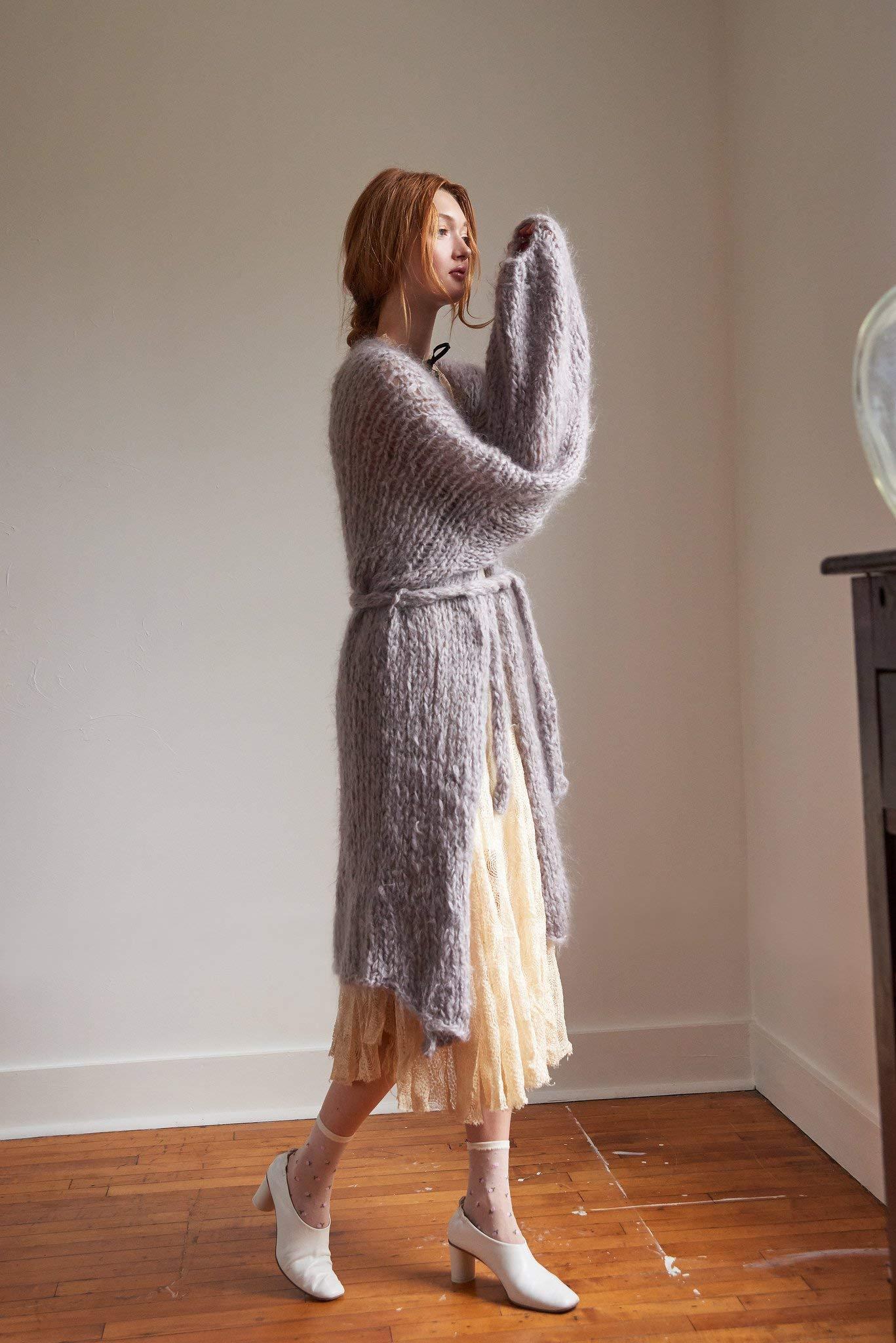 Loopy Mango DIY Knit Kit - Medium/Large Long Cardigan - Mohair So Soft (Moss) by Loopy Mango (Image #3)