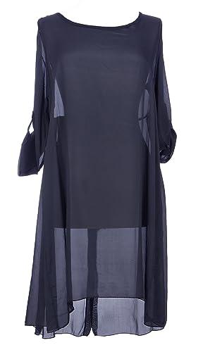 Ladies Women Italian Lagenlook Sheer Silk Mix Half Button Back Tunic Top One Size