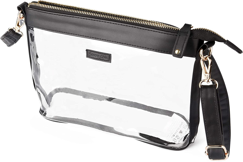 Stadium Approved Adjustable Shoulder Strap Large Clear PVC Plastic Purse Crossbody Zipper Bag for Women