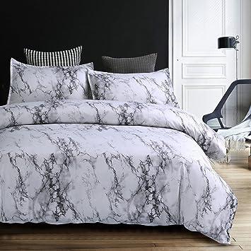 Bettwäsche Bettbezug Set 135x200cm Weiß Grau Marmor Muster Modern