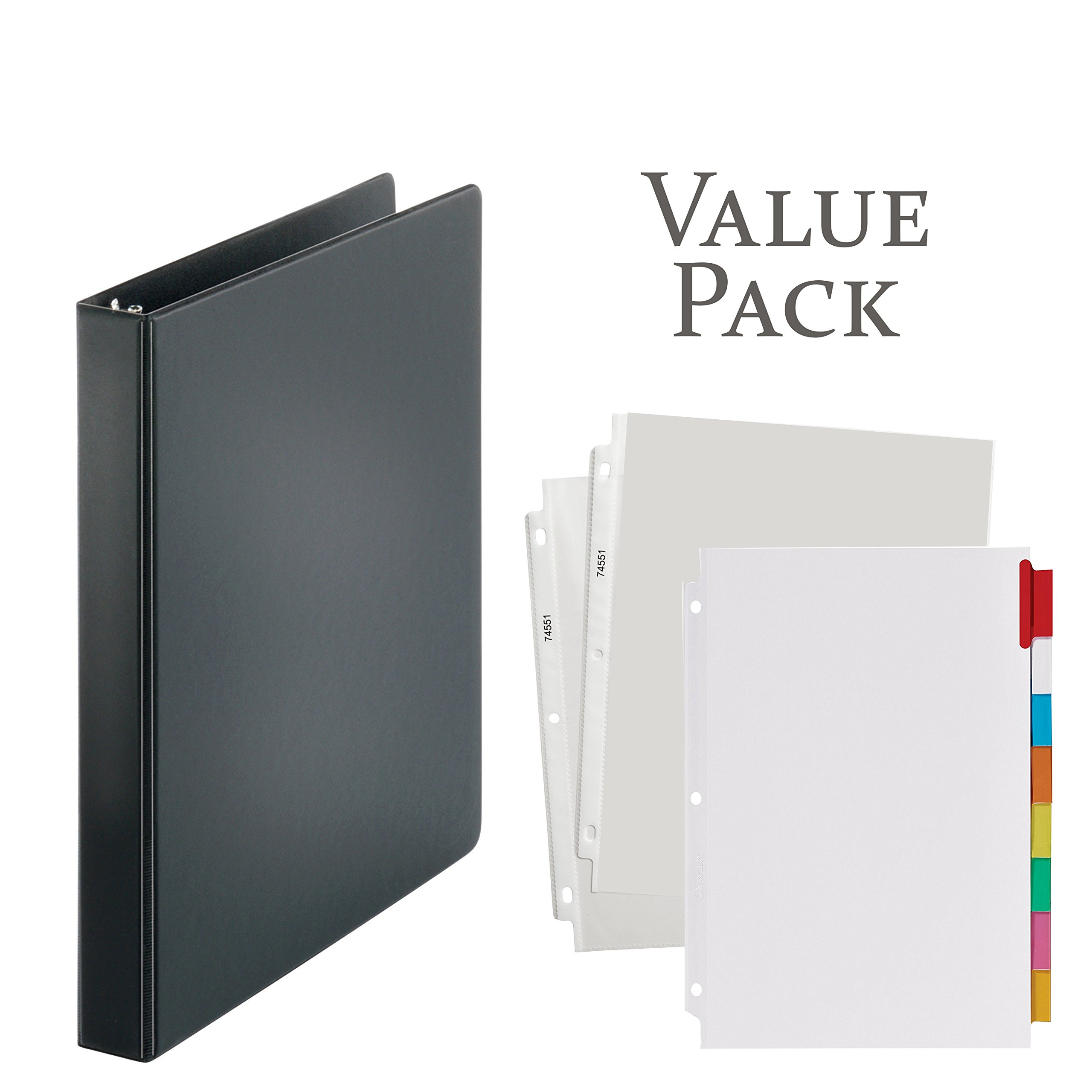 3-Ring Binder, 1 inch with 20 Top-Loading Poly Clear Sheet Protectors and Big Tab Insertable Extra Wide Dividers, 8 Multi-Color Tabs - Value Pack (Black Ring Binder)