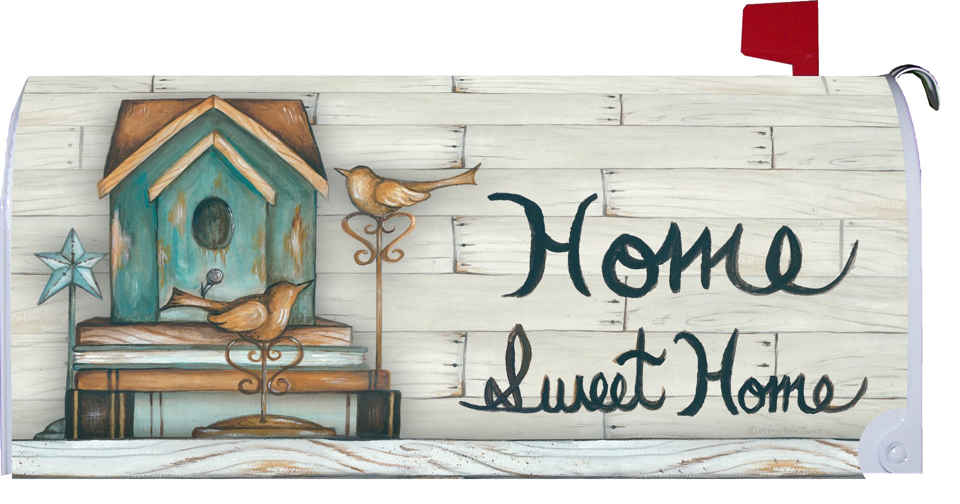 Home Sweet Home - Mailbox Makover Cover - Vinyl witn Magnetic Strips for Steel Standard Rural Mailbox - Copyright, Licensed and Trademarked by Custom Decor Inc.