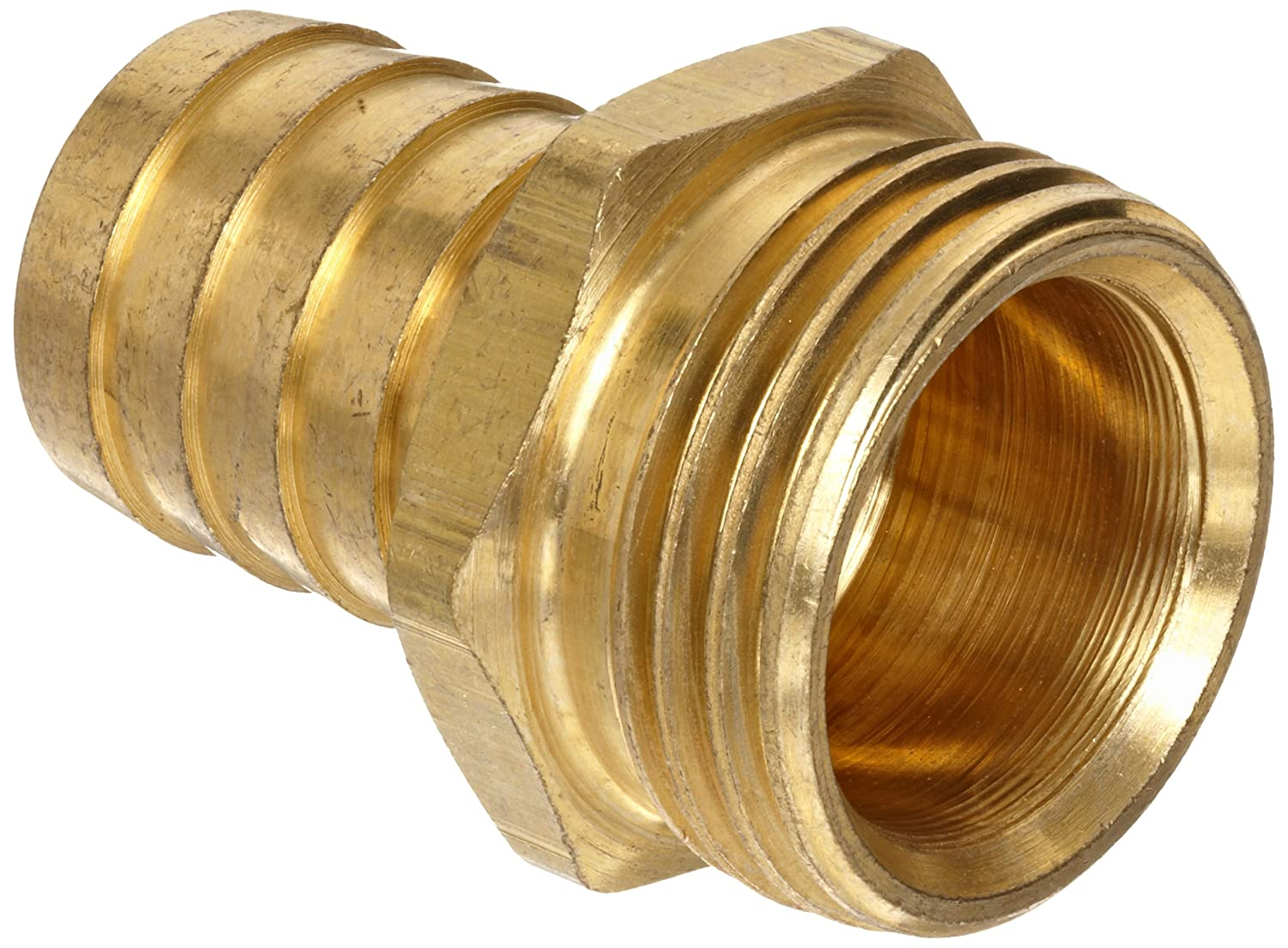 "Anderson Metals Brass Garden Hose Fitting, Connector, 5/8"" Barb x 3/4"" Male Hose"