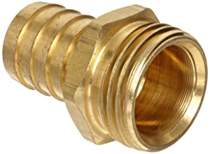 "Anderson Metals Brass Garden Hose Fitting, Connector, 1/2"" Barb x 3/4"" Male Hose"