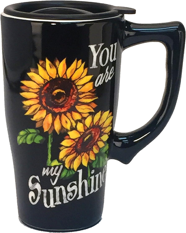 Spoontiques You Are My Sunshine Ceramic Travel Mug, Black