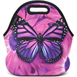 ICOLOR Purple Big Butterfly Insulated Neoprene Lunch Bag Tote Handbag lunchbox Food Container Gourmet Tote Cooler warm Pouch