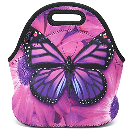 15925e4a06c4 ICOLOR Purple Big Butterfly Insulated Neoprene Lunch Bag Tote Handbag  lunchbox Food Container Gourmet Tote Cooler warm Pouch For School work  Office