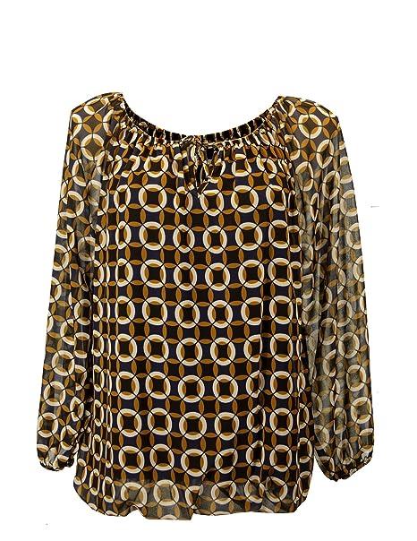 Moda Italy Damen Bluse Aus Chiffon in Carmen Style mit Polka Dots Tupfen  Rauten Elegante Pump b532eae8a6