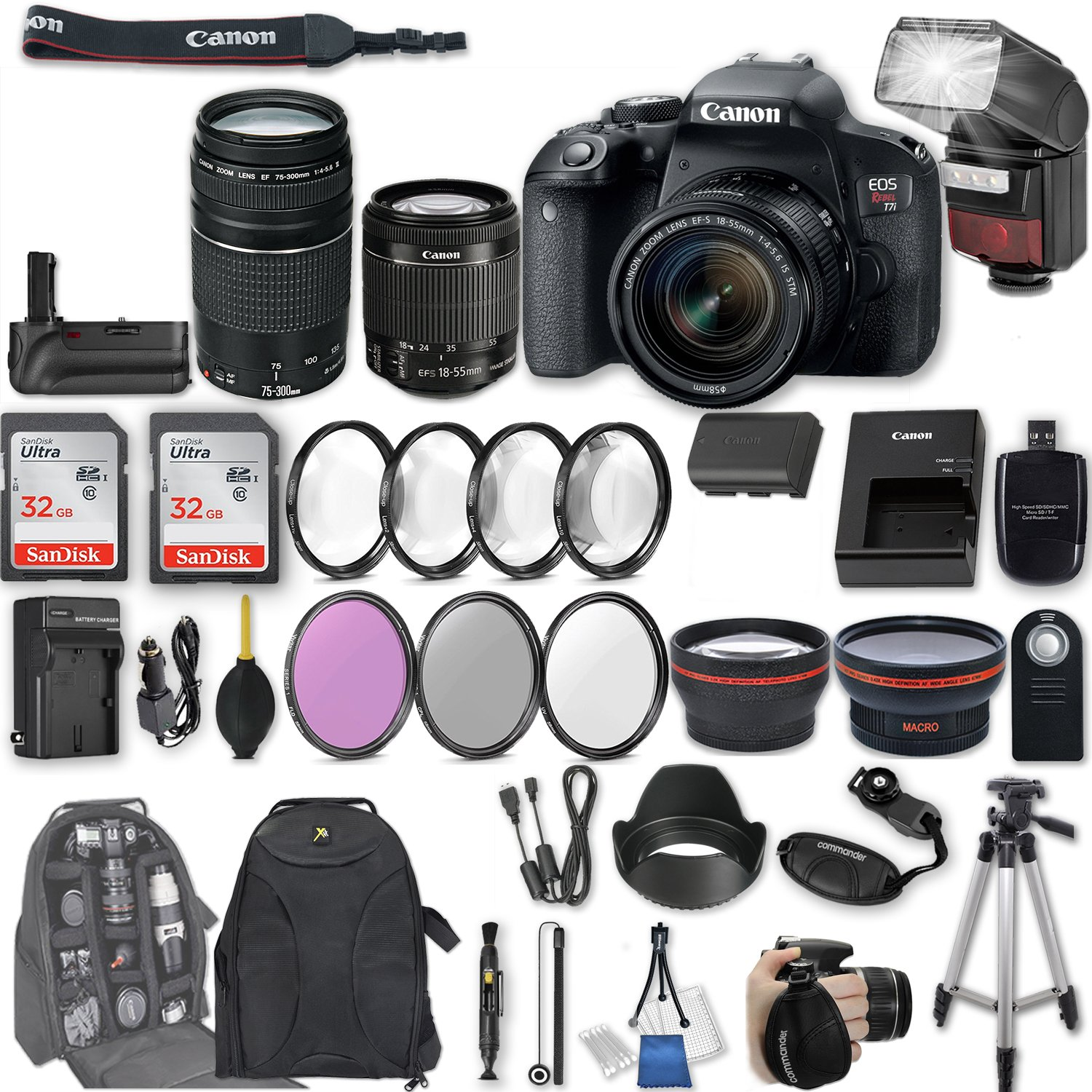 Canon EOS Rebel T7i DSLR Camera with EF-S 18-55mm f/4-5.6 IS STM Lens + EF 75-300mm f/4-5.6 III + 2Pcs 32GB Sandisk SD Memory + Automatic Flash + Battery Grip + Filter & Macro Kits + Backpack + More by Canon